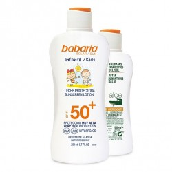 BABARIA LECHE PROTECTORA SOLAR INFANTIL SPF50+ 200ML + AFTER SUN ALOE 100ML