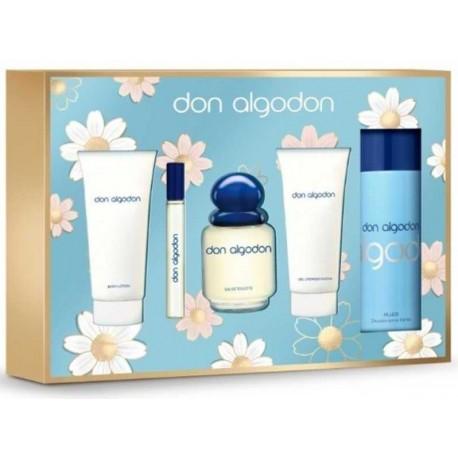 comprar perfumes online DON ALGODON EDT 100 ML+DESODORANTE 150ML+GEL 75 ML+LOCION CORPOTAL 75 ML+ MINI EDT 10ML SET REGALO mujer