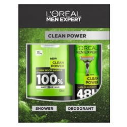 L'OREAL MEN EXPERT CLEAN POWER DESODORANTE 150ML + GEL 300ML