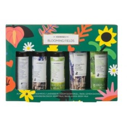 KORRES BLOOMING FIELDS SET 5x40ML MINI TALLAS ( 2 GELES,2 LECHES CORPORALES,MASCARILLA CABELLO)