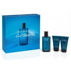 comprar perfumes online hombre DAVIDOFF COOL WATER MEN EDT 75 ML + A/S BALM 50 ML + S/GEL 50 ML SET